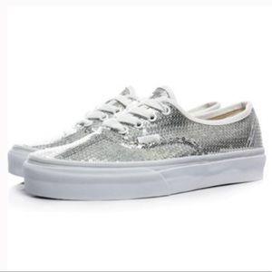 Vans White Silver Sequin Sneakers💙